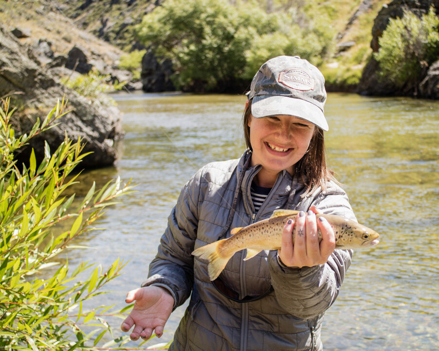 This girl can fish, small browns, big smiles